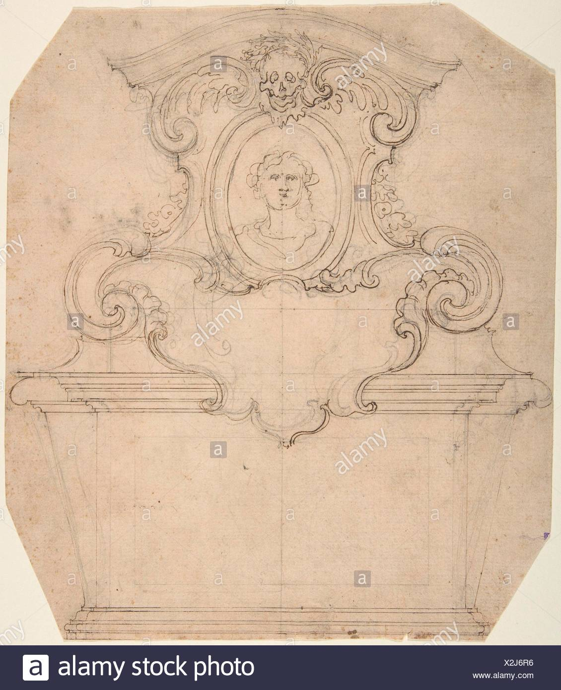 Design for a Tomb of Epitaph (recto); An Unfinished Variation of a Tomb or Epitaph (verso). Artist: Attributed to Giovanni Battista Foggini (Italian, - Stock Image