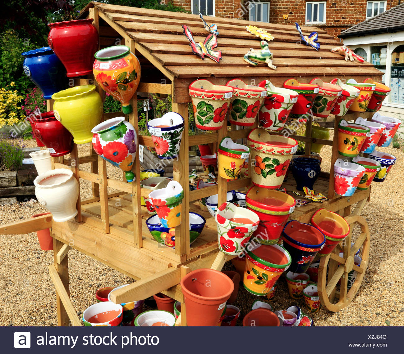 Colourful, colorful, decorative, Pots, Planters, containers, Garden Nursery sales England UK - Stock Image
