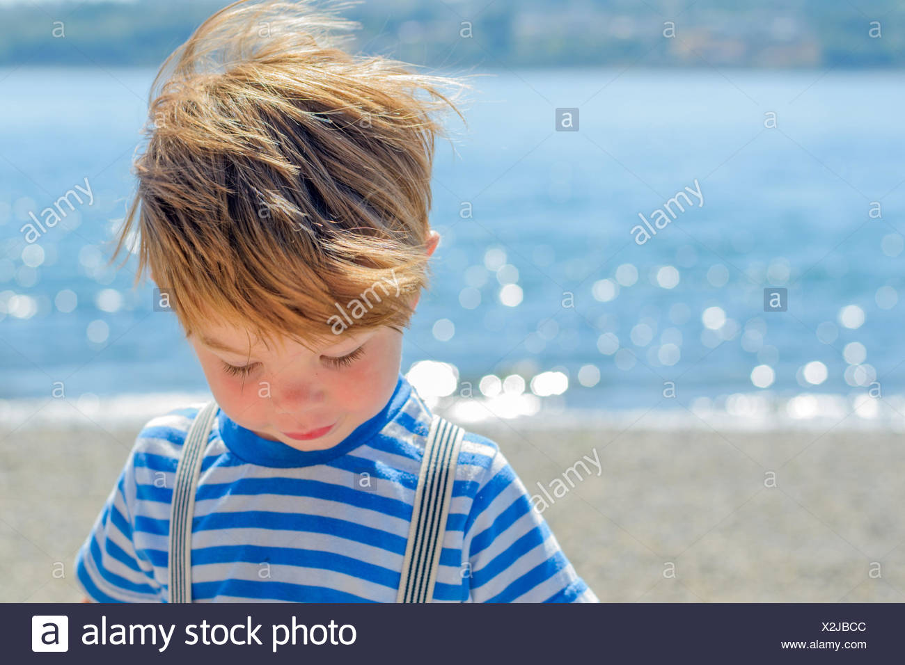 Boy at beach (2-3 years) - Stock Image