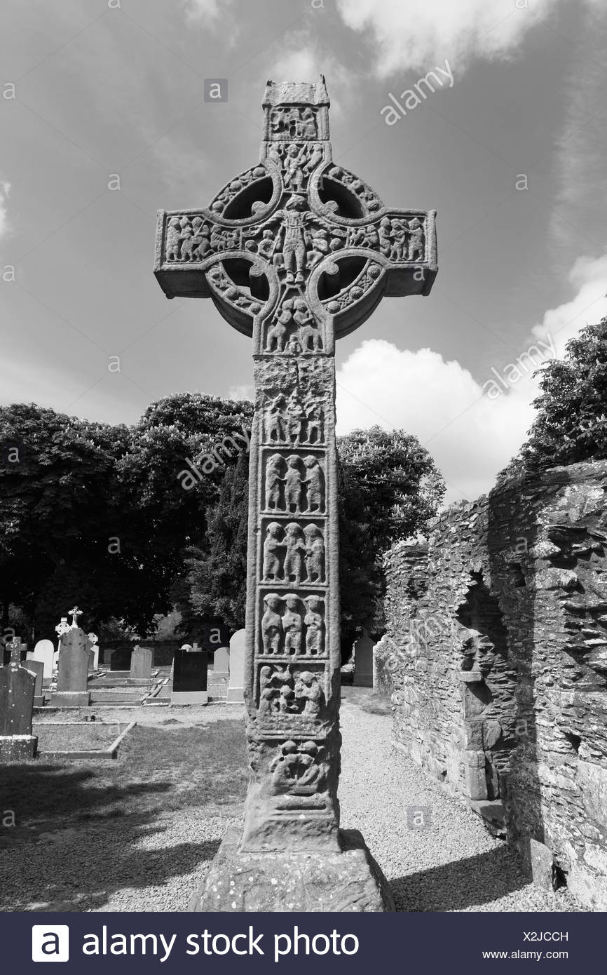 West Cross, the highest high cross in Ireland, Monasterboice Monastery, County Louth, Leinster, Ireland, Europe - Stock Image