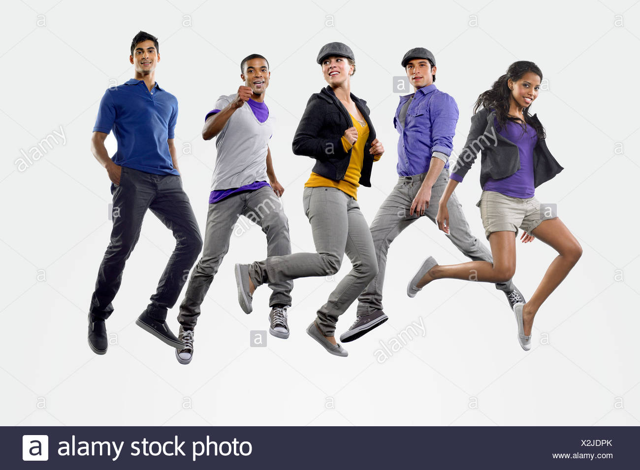 Young people jumping - Stock Image