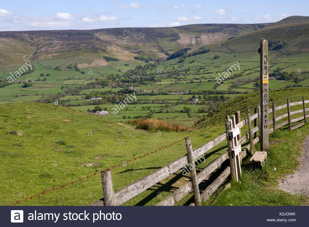 England, Derbyshire, Peak District National Park, Edale valley - Stock Image