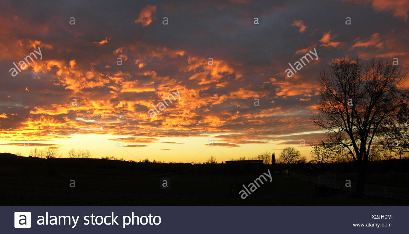evening,sunset,fire,conflagration,red - Stock Image