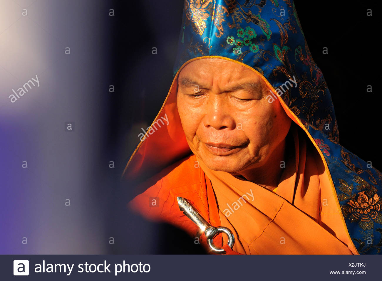 High priest at the most important festival of the Cham, Po Nagar temple, Nha Trang, Vietnam, Southeast Asia - Stock Image