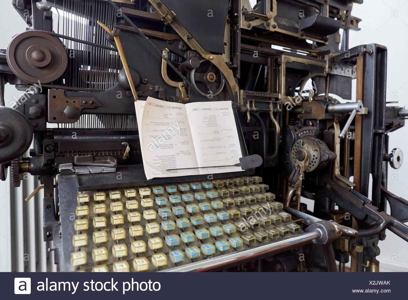 Old typesetting machine, typography - Stock Image