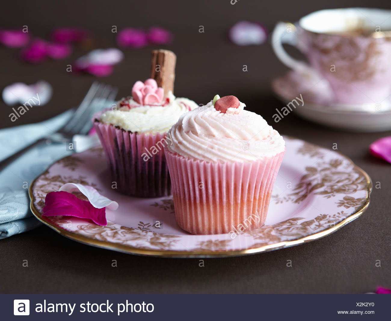 Plate of decorated cupcakes - Stock Image