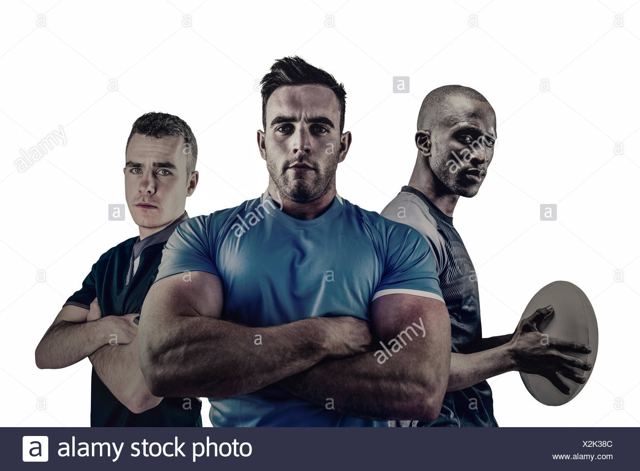 Group of Tough rugby players - Stock Image