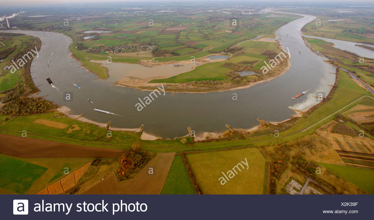 Aerial view, Grint, Mehrum, flood plains of the Rhine river, river bend Rheinbogen Mehrum, Voerde, North Rhine-Westphalia Stock Photo