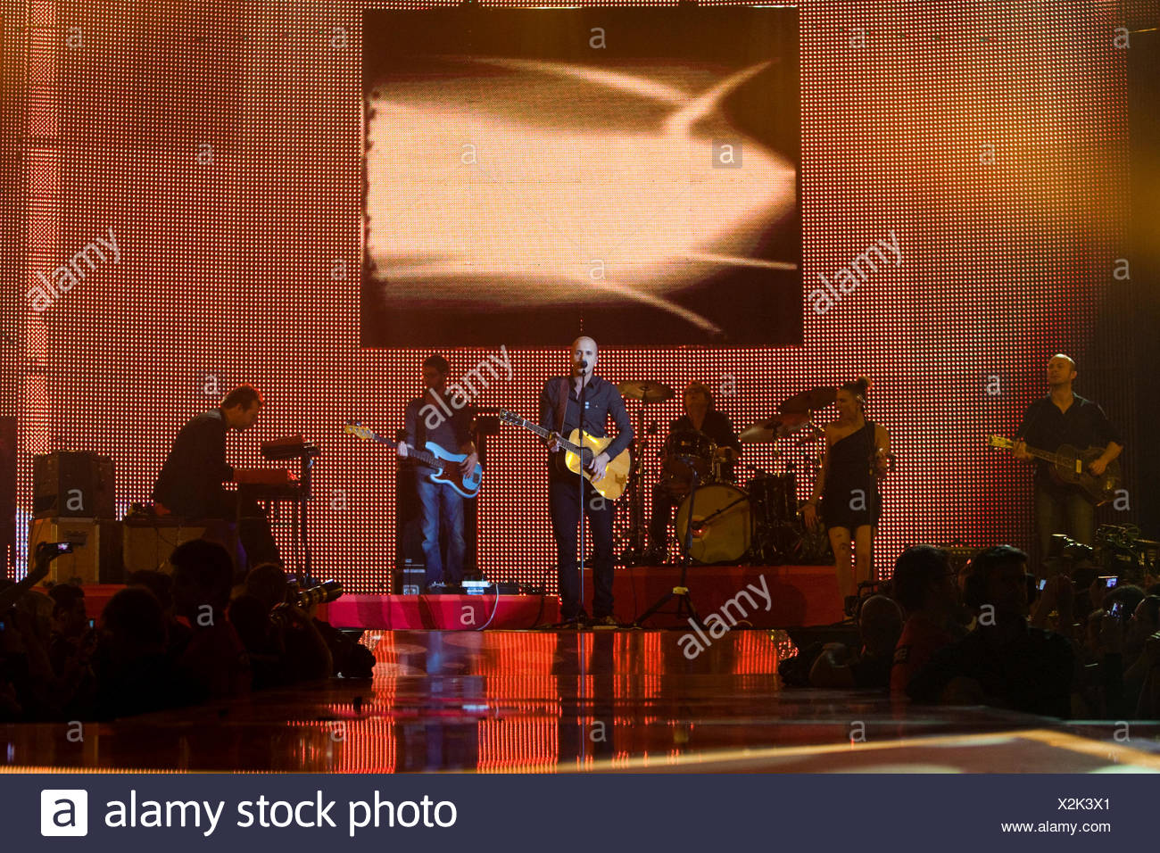 Belgian singer and songwriter Milow live at the Energy Stars For Free event at the Hallenstadion Oerlikon concert hall, Zurich - Stock Image