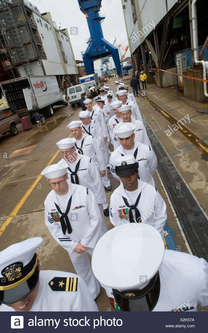Christening ceremony of a new US Navy ship in Bath Maine. Stock Photo