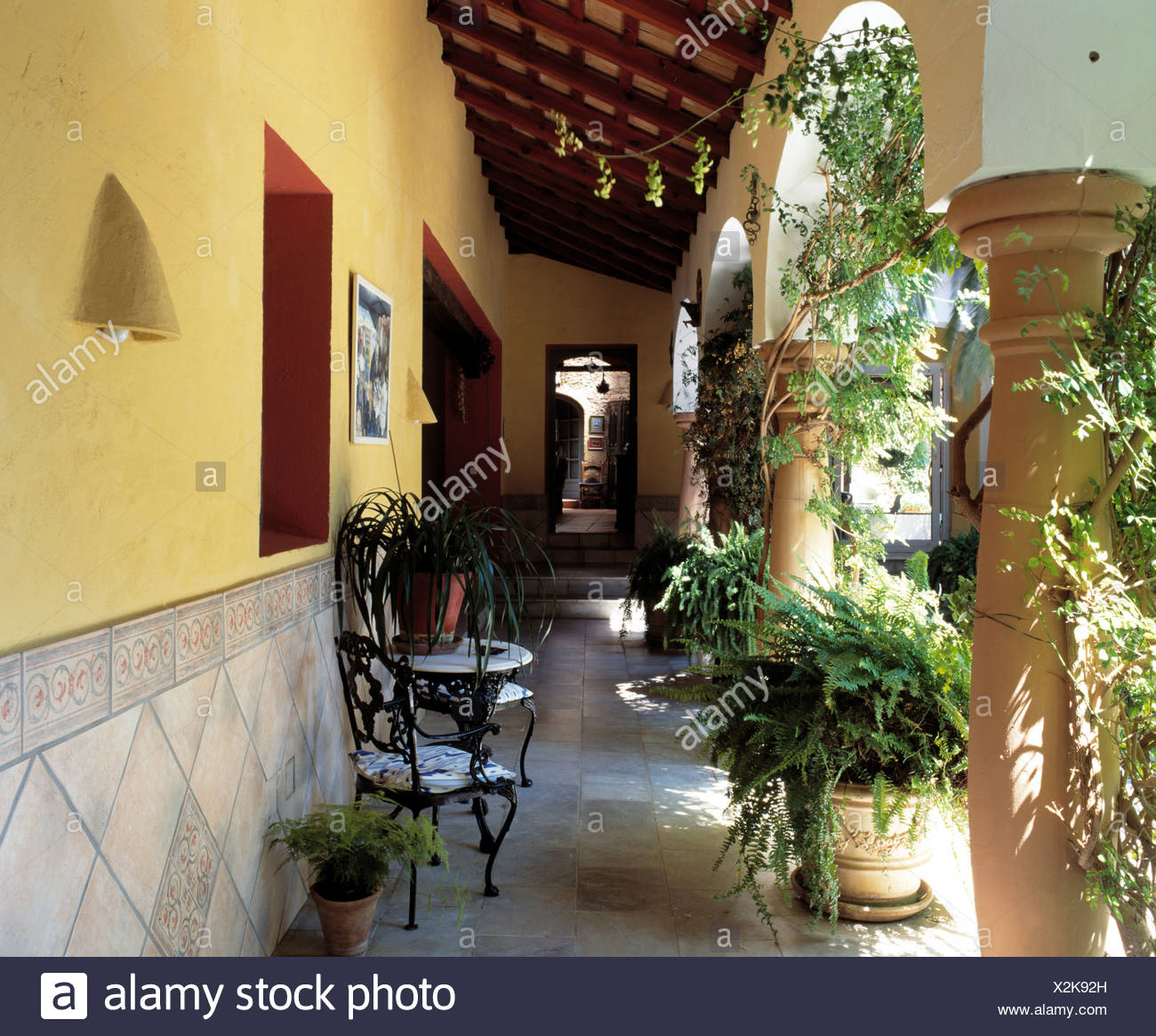 Lush Green Ferns And Climbers In Pots On Veranda Of Spanish Villa With  Wrought Iron Chairs