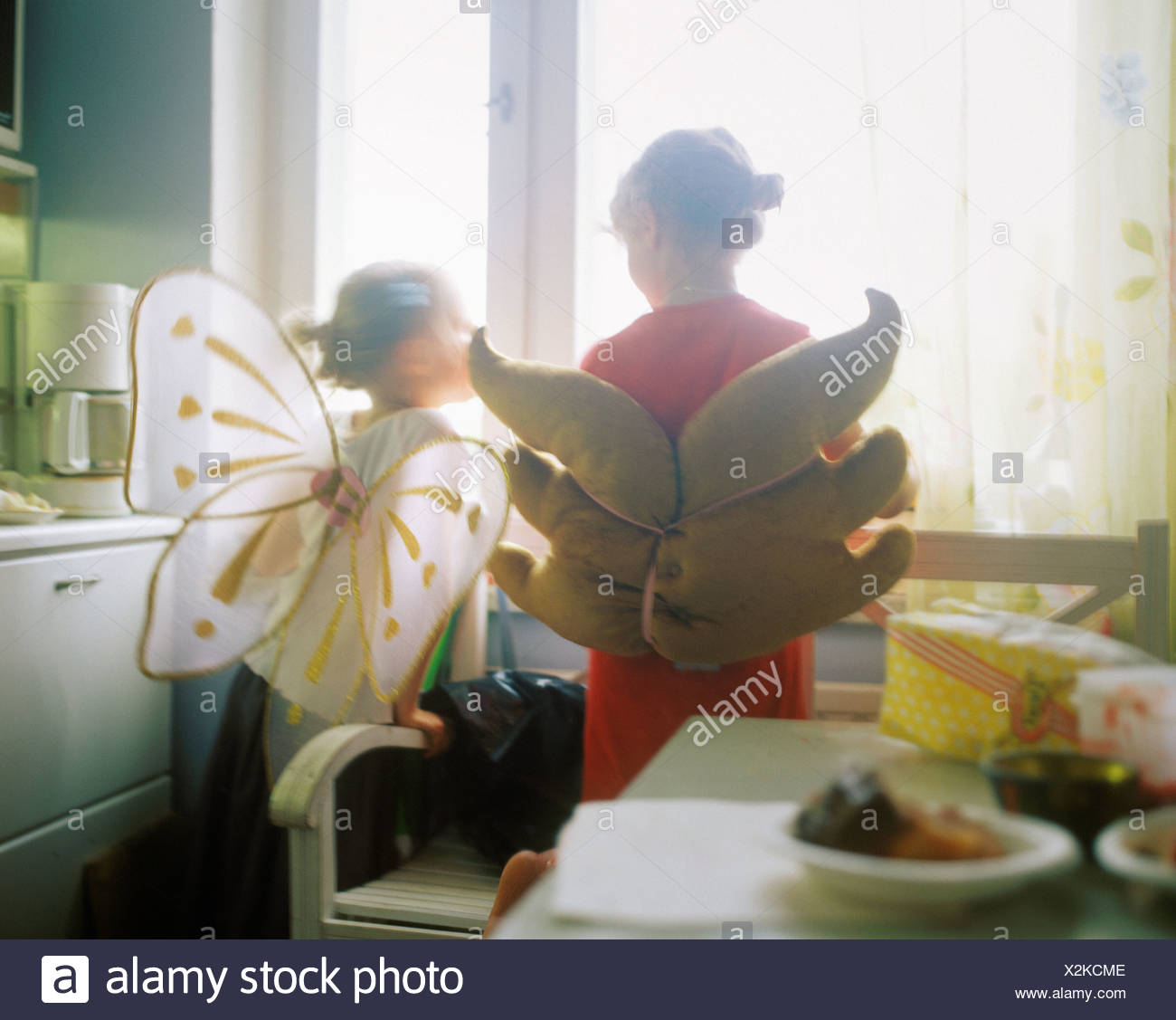 Rear view of two girls wearing fairy costume and standing near a window - Stock Image