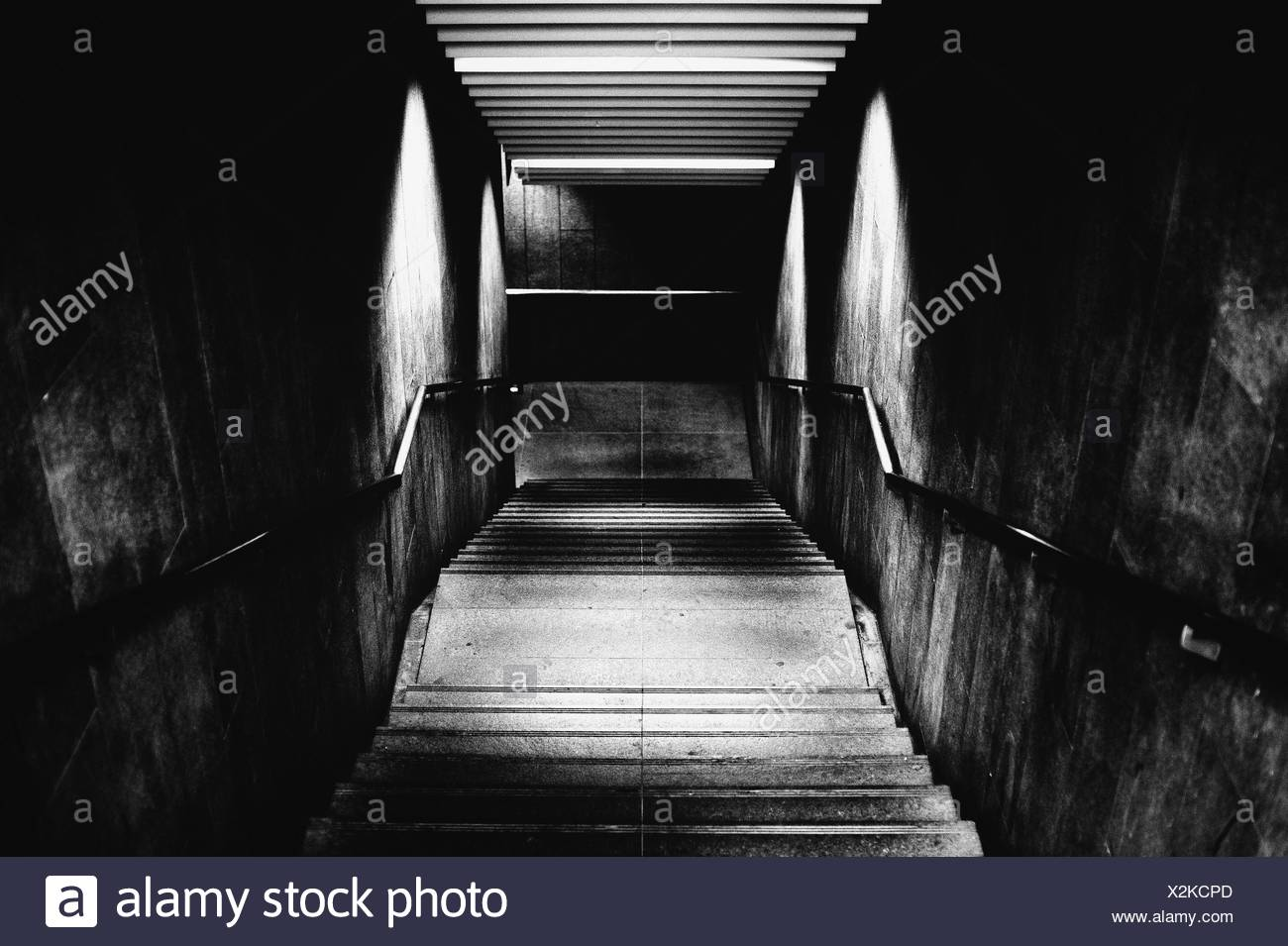 High Angle View Of Steps In Subway Station - Stock Image