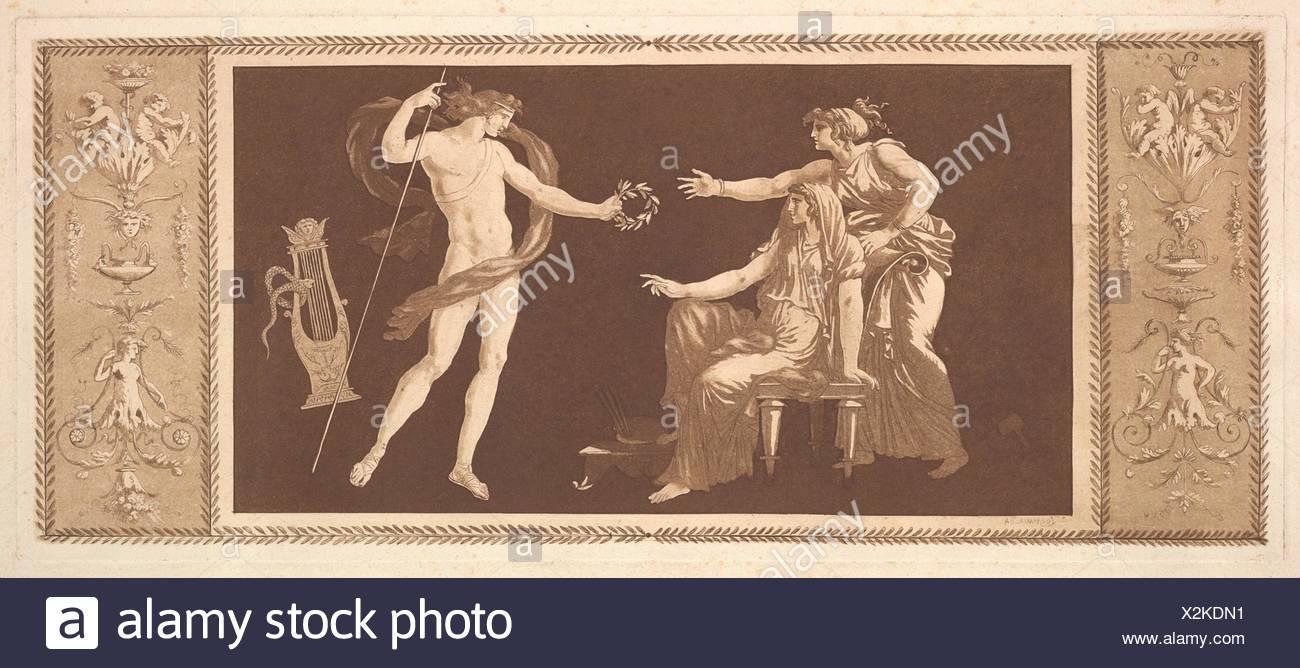 Apollon couronnant les arts (Apollo Crowining the Arts), from Recueil de Différentes Compositions Frises et Ornements dessinées et gravées à la - Stock Image