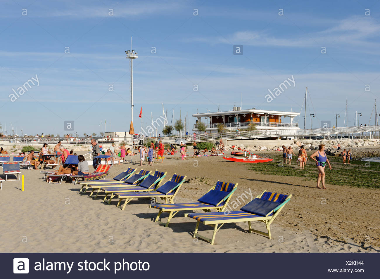 Beach at Cattolica, Cattolica, Province of Rimini, Emilia-Romagna, Adriatic coast, Italy, Europe - Stock Image