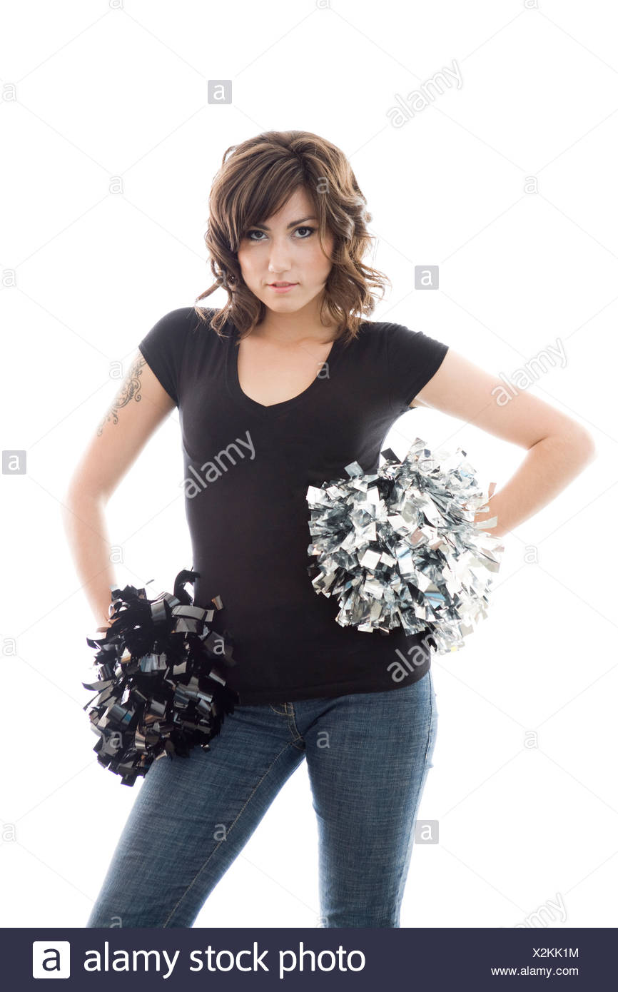Attractive Young Woman Posing With Cheerleader Pom Poms Stock Image