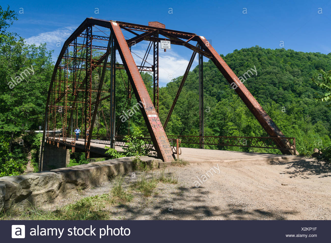 View of Jenkinsburg Bridge over Cheat River - Stock Image