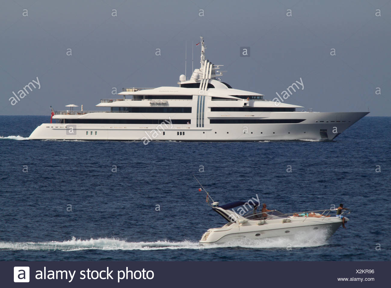 Vibrant Curiosity, a cruiser built by Oceanco, length: 85.47 meters, built in 2009, French Riviera, France, Mediterranean Sea - Stock Image