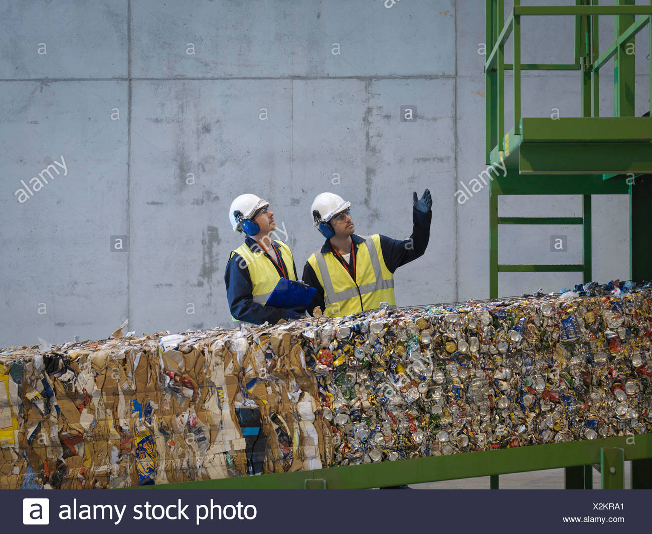 Workers In Recycle Plant - Stock Image