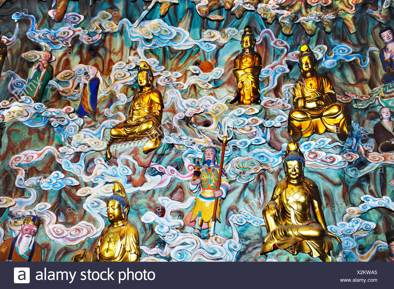 Figurines, gods' heaven, Longhua temple, Shanghai, China Stock Photo