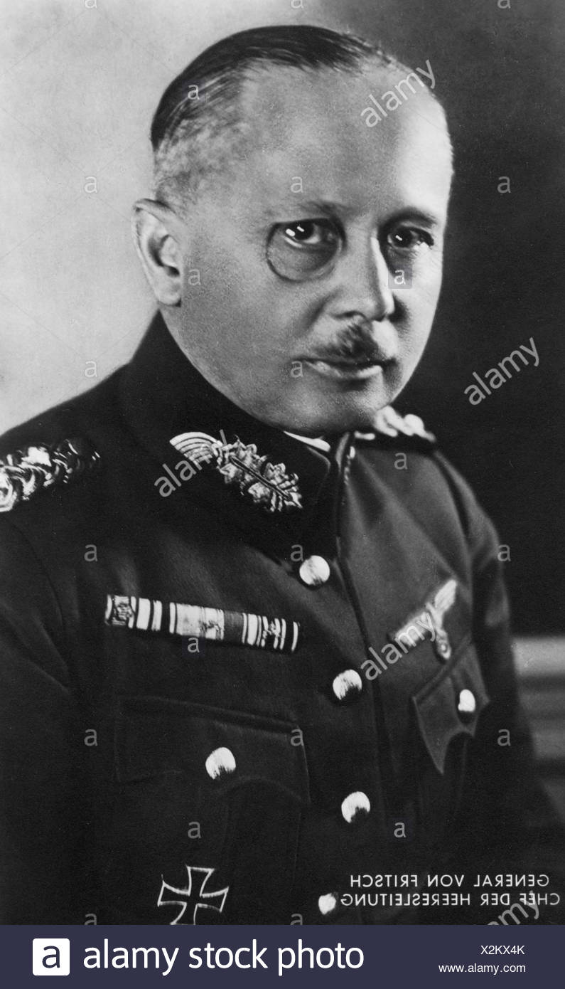 Fritsch, Werner von, 4.8.1880 - 22.9.1939, German General, Commander-in-Chief of the Army 1.6.1935 - 28.1.1938, portrait, postcard, 1930s, , Additional-Rights-Clearances-NA - Stock Image