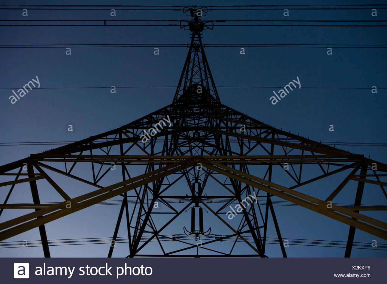 Pylons and power cables 3 - Stock Image