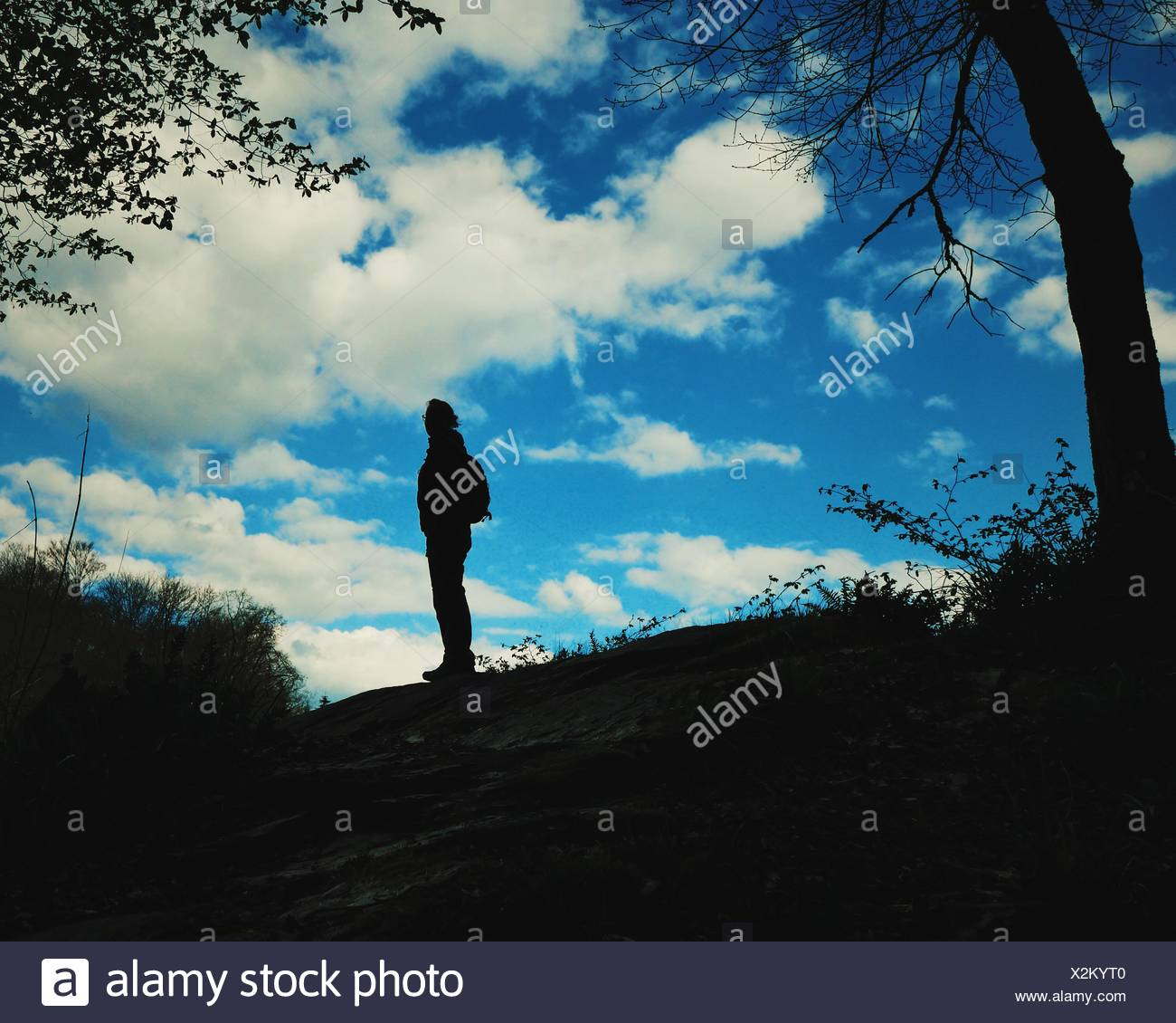 Silhouette Of Woman Standing On Rock - Stock Image