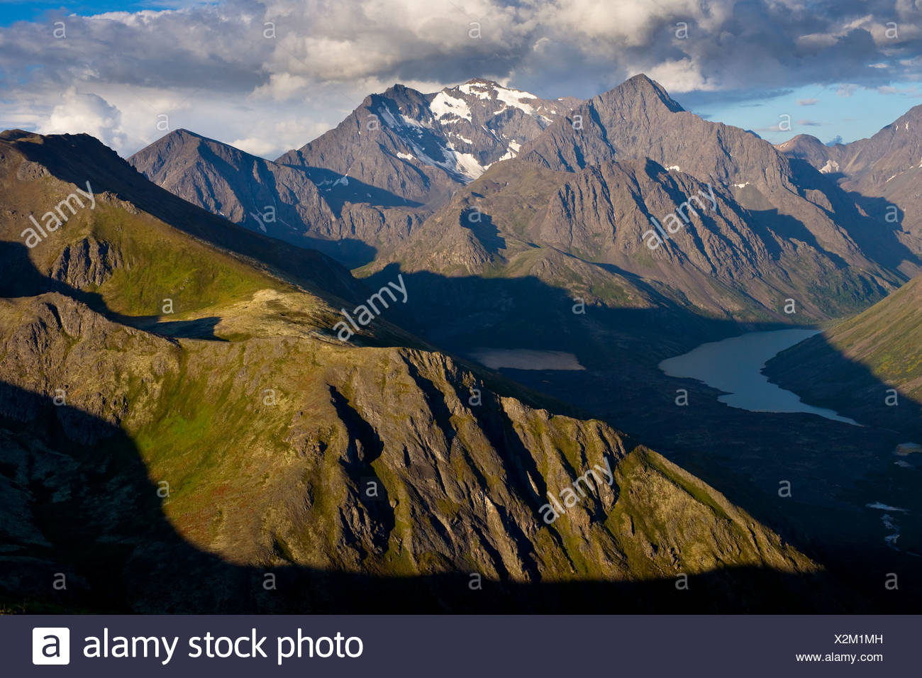 Scenic view of Eagle and Symphony Lakes, South Fork of Eagle River Peaks, Chugach State Park, Southcentral Alaska, Summer - Stock Image