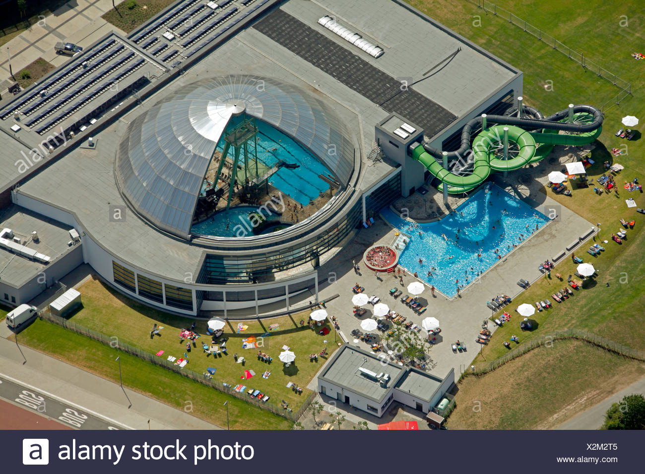 Aerial view, former steelwork grounds, Neue Mitte Oberhausen commercial development area, Centro shopping mall, marina - Stock Image