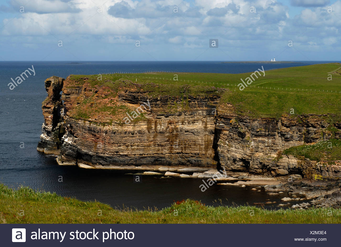View onto the Orkney Isles from Duncasby Head, Scotland, United Kingdom, Europe - Stock Image