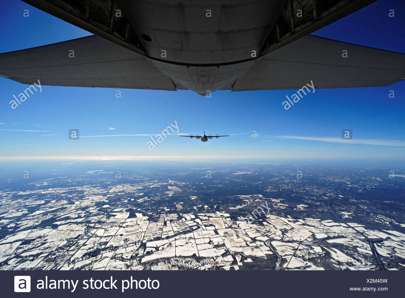 An EC-130J Commando Solo 193rd Special Operations Squadron flown Air Force Special Operations Training Center students class - Stock Image
