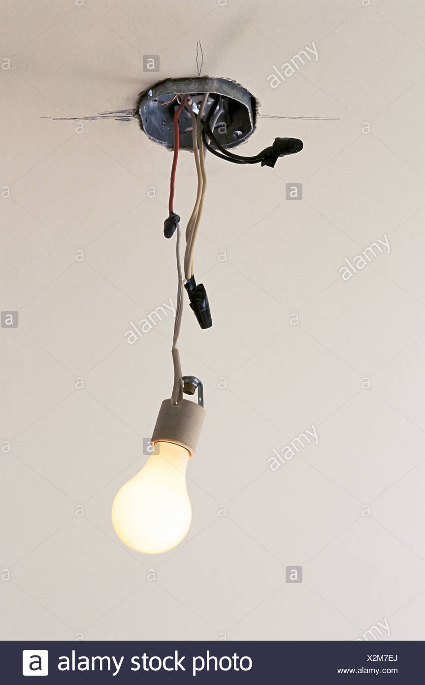 Electric Light And Dangling Wires Stock Photo 277040138 Alamy Wiring Electrical Fixtures