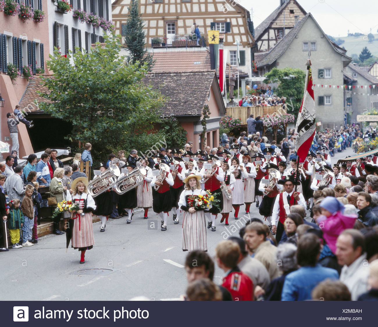 brass band music tradition blower tradition folklore Hallau canton Schaffhausen bolt houses Switzerland Eu - Stock Image