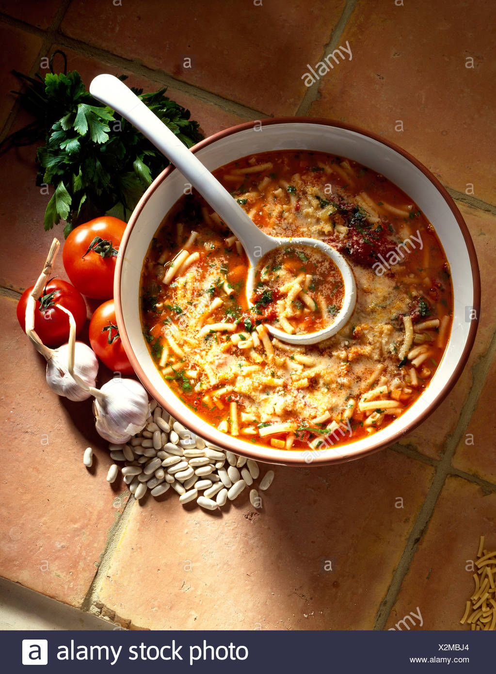 Cooking Italian Minestrone Serves Cup Dried White Cannellini Beans Tbs Virgin Olive Oil Celery Stalks Finely Chopped Stock Photo Alamy