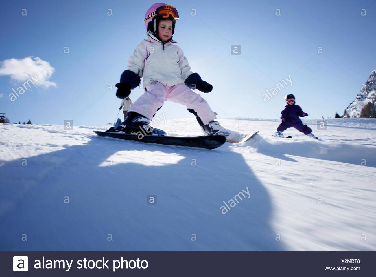 Girl  4 years  downhill skiing, Hermagor, Carinthia, Austria - Stock Image