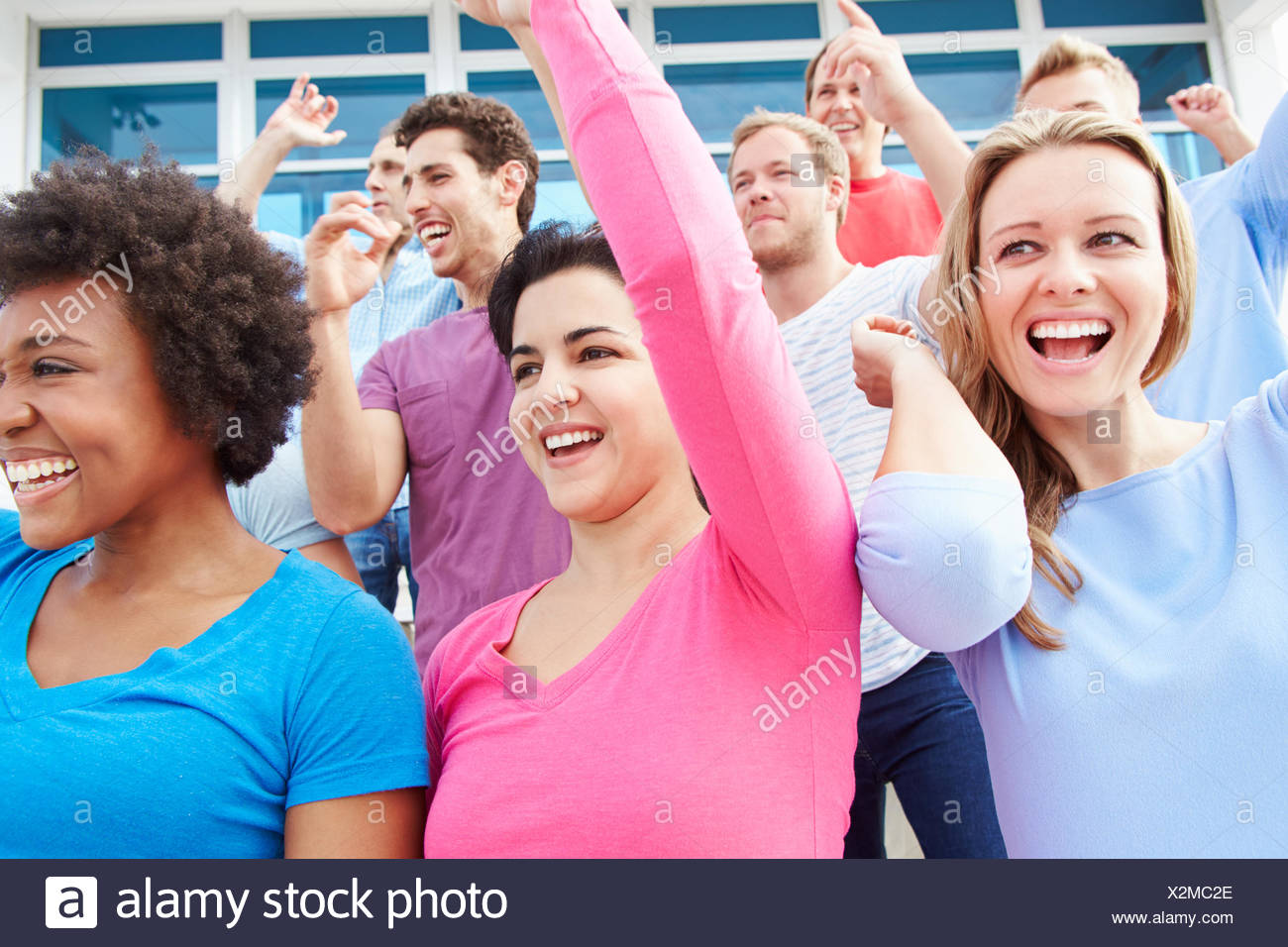 Audience Dancing At Outdoor Concert Performance - Stock Image