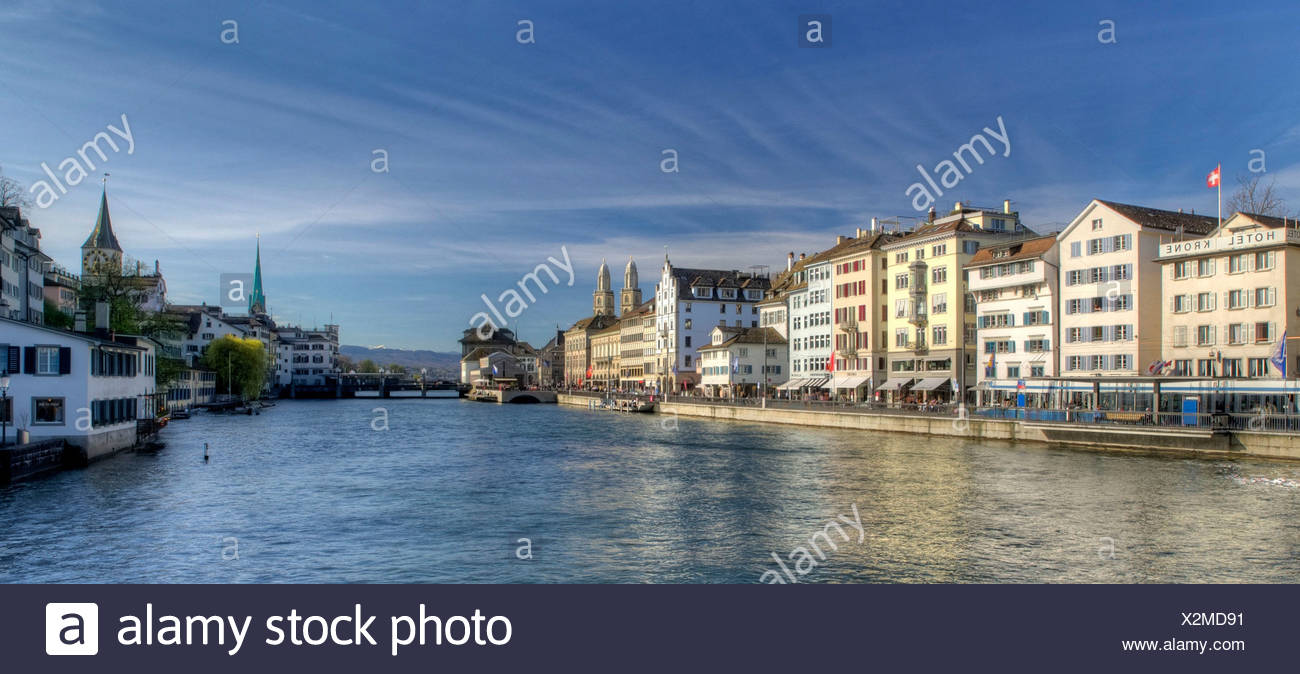 Zurich, Switzerland, Europe, church, Grossmünster, Limmat, Limmatquai, schipfe, weeping willow, - Stock Image