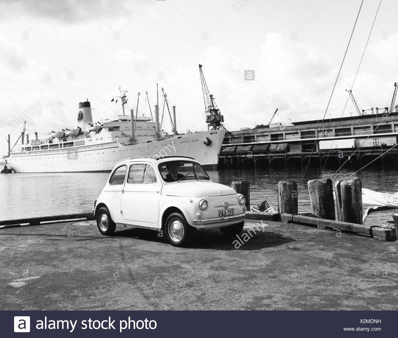 transport / transportation, car, vehicle variants, Fiat Nuova 500, in the harbour of Auckland, New Zealand, late 1950s, Additional-Rights-Clearences-NA - Stock Image