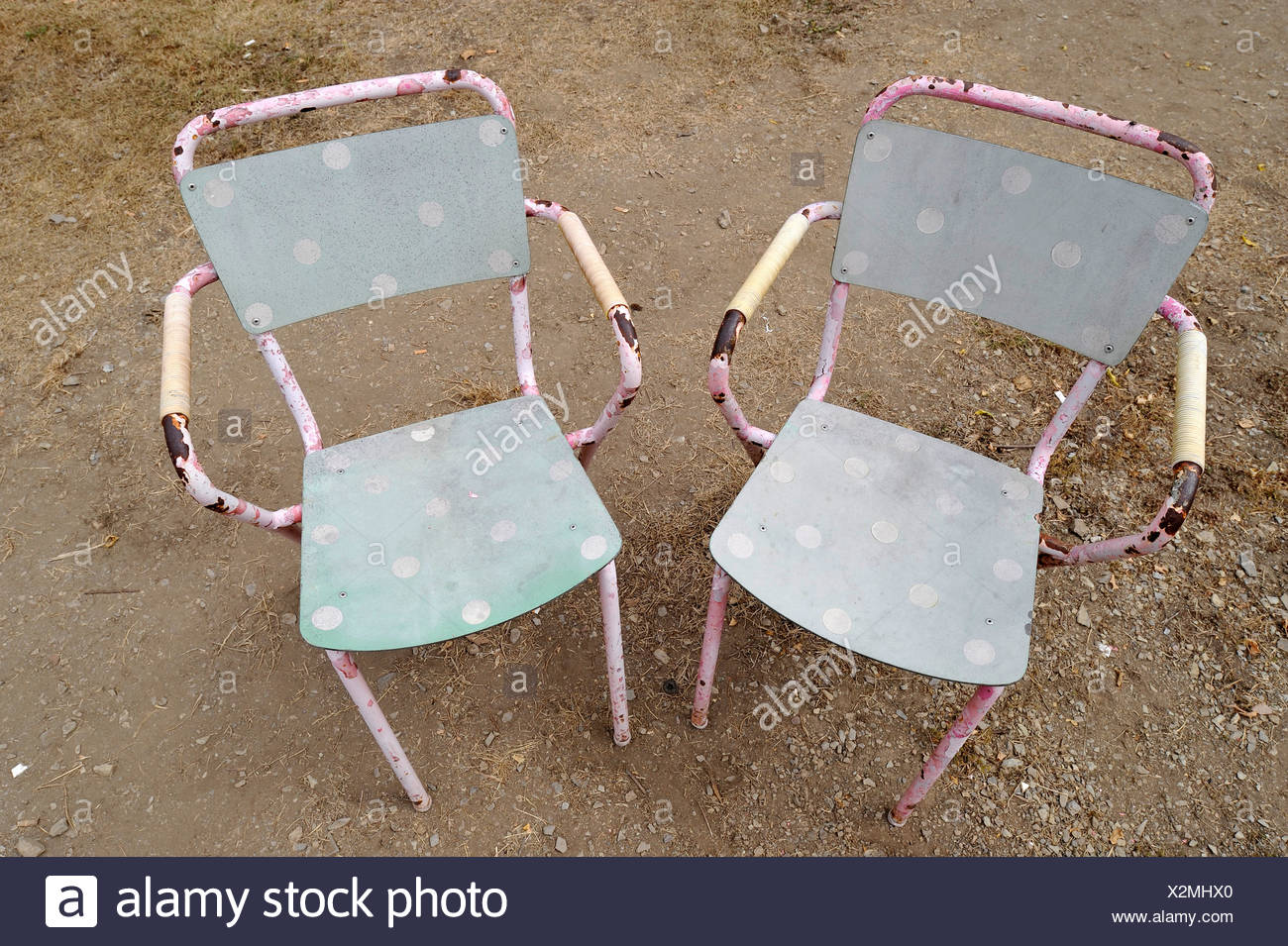 Two unused old chairs - Stock Image