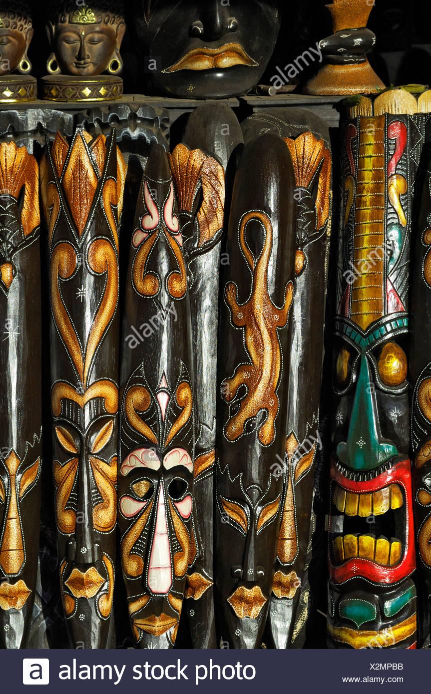 African style masks, Ubud, Bali, Indonesia, South East Asia - Stock Image