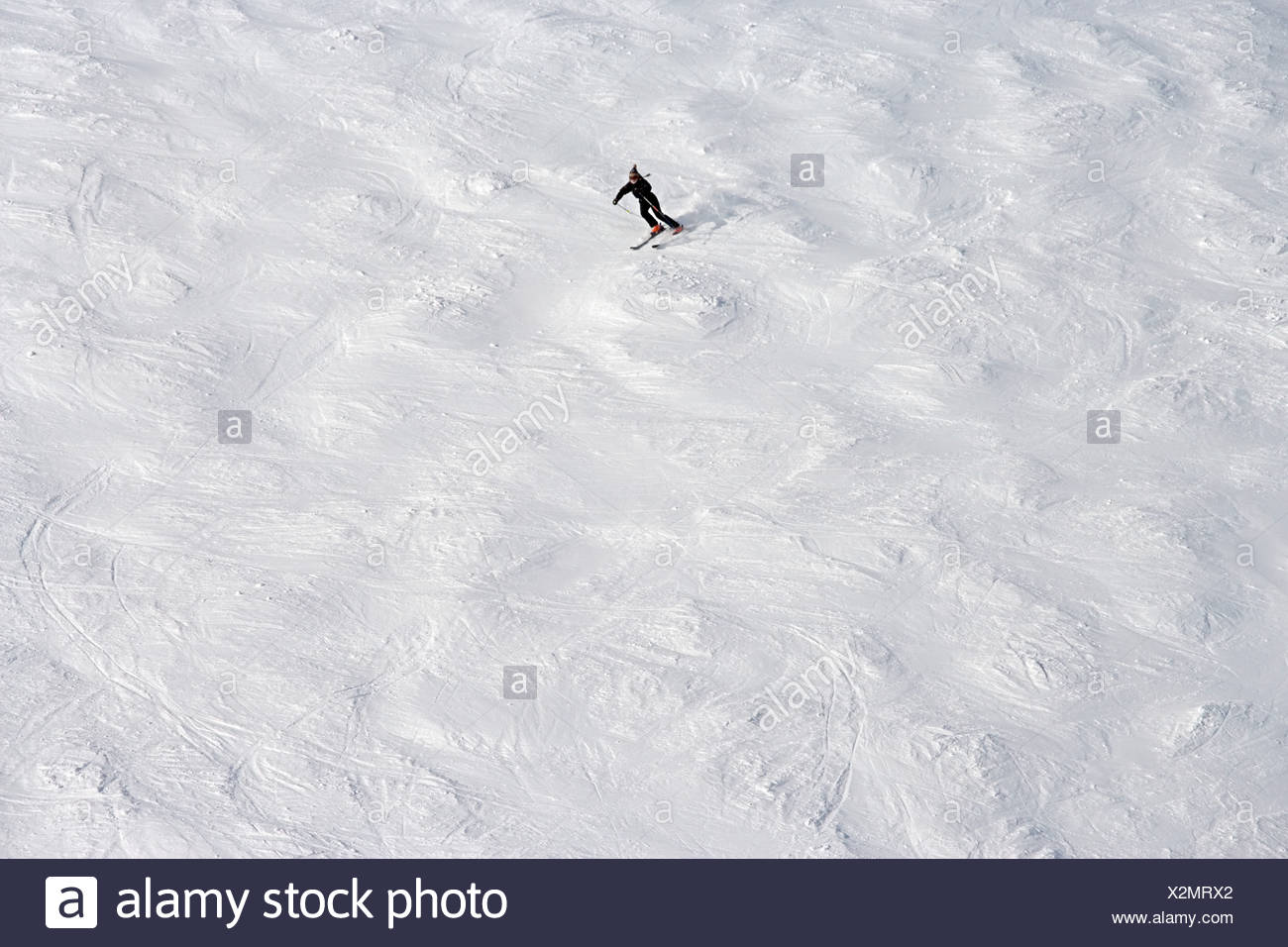 Solitary skier - Stock Image