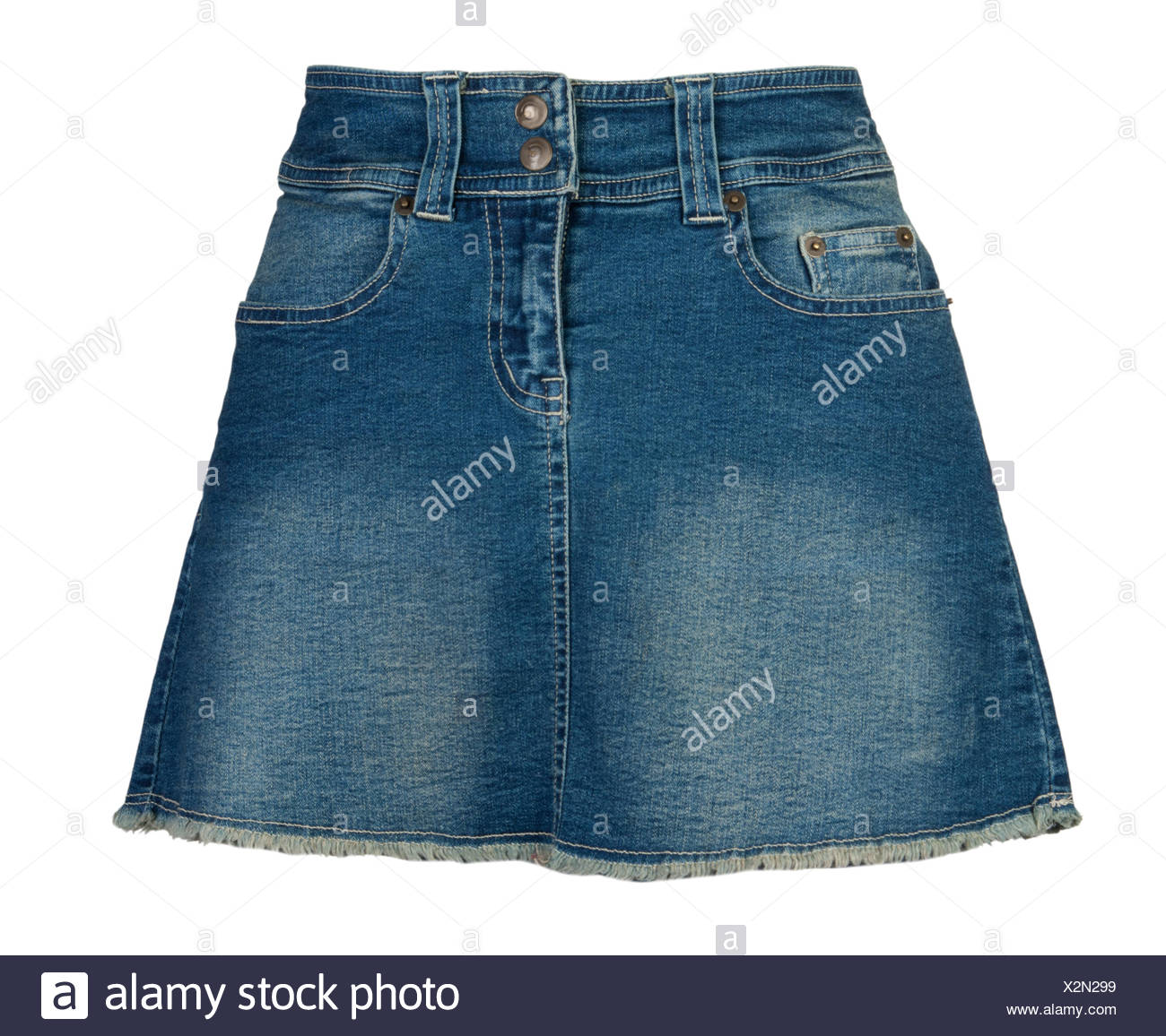 skirt, blue, isolated, fashion, small, tiny, little, short, jeans, trousers, - Stock Image