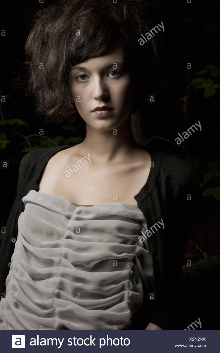 Portrait of a brunette woman - Stock Image