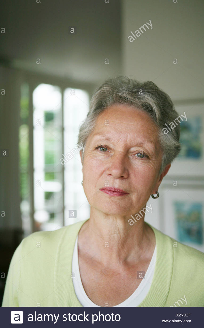 Flat Senior Pensive Portrait Person Woman Old Grey Haired