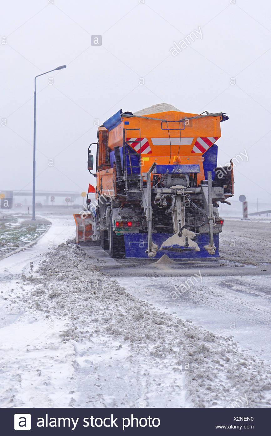 Salt spreader truck - Stock Image