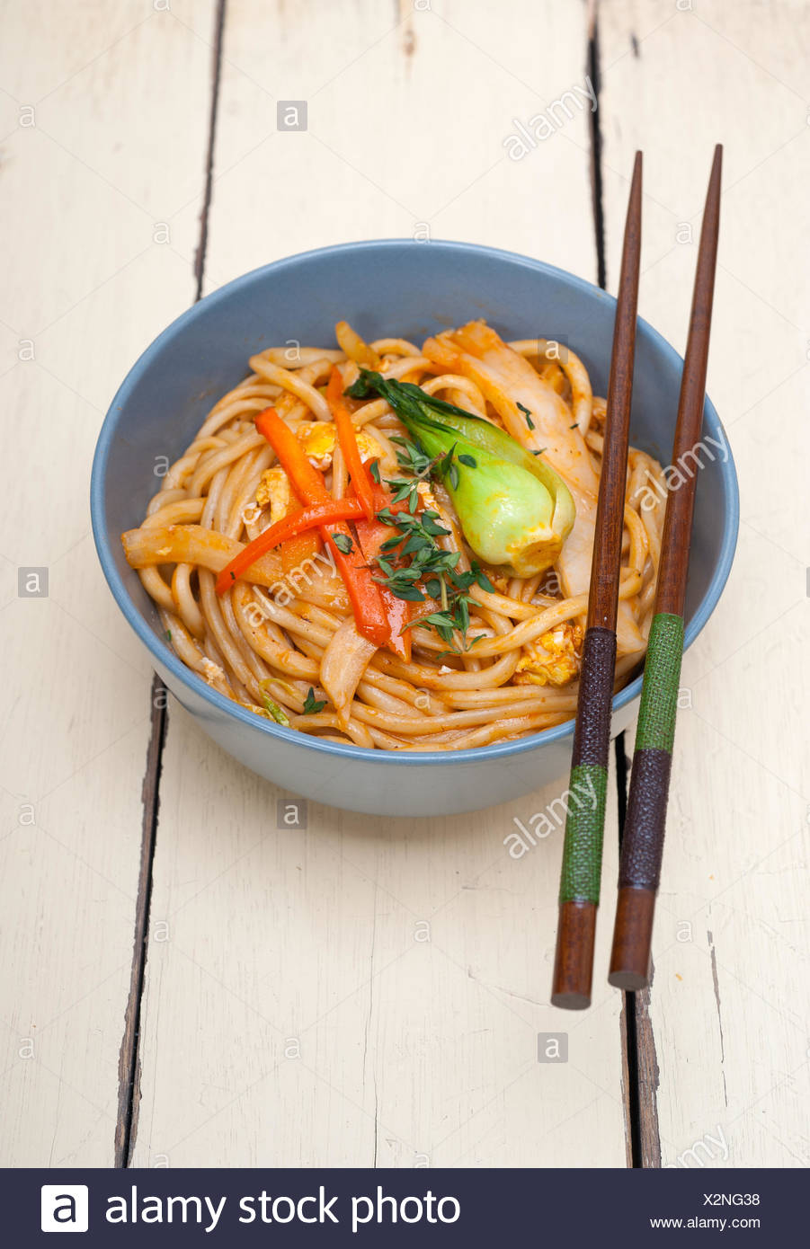 hand pulled ramen noodles - Stock Image
