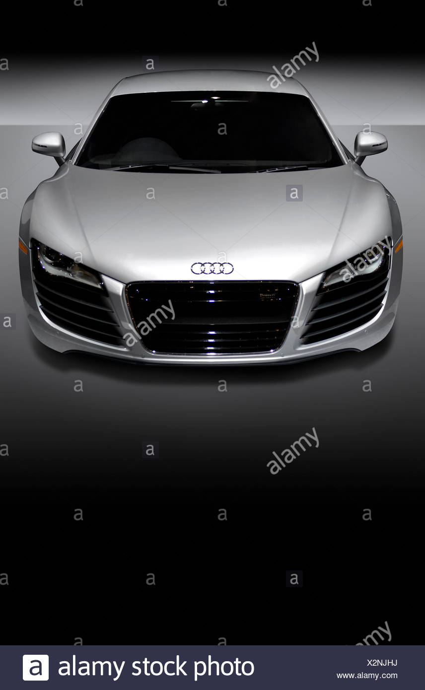 Grey metallic Audi R8, a mid-engined German sports car, front view - Stock Image