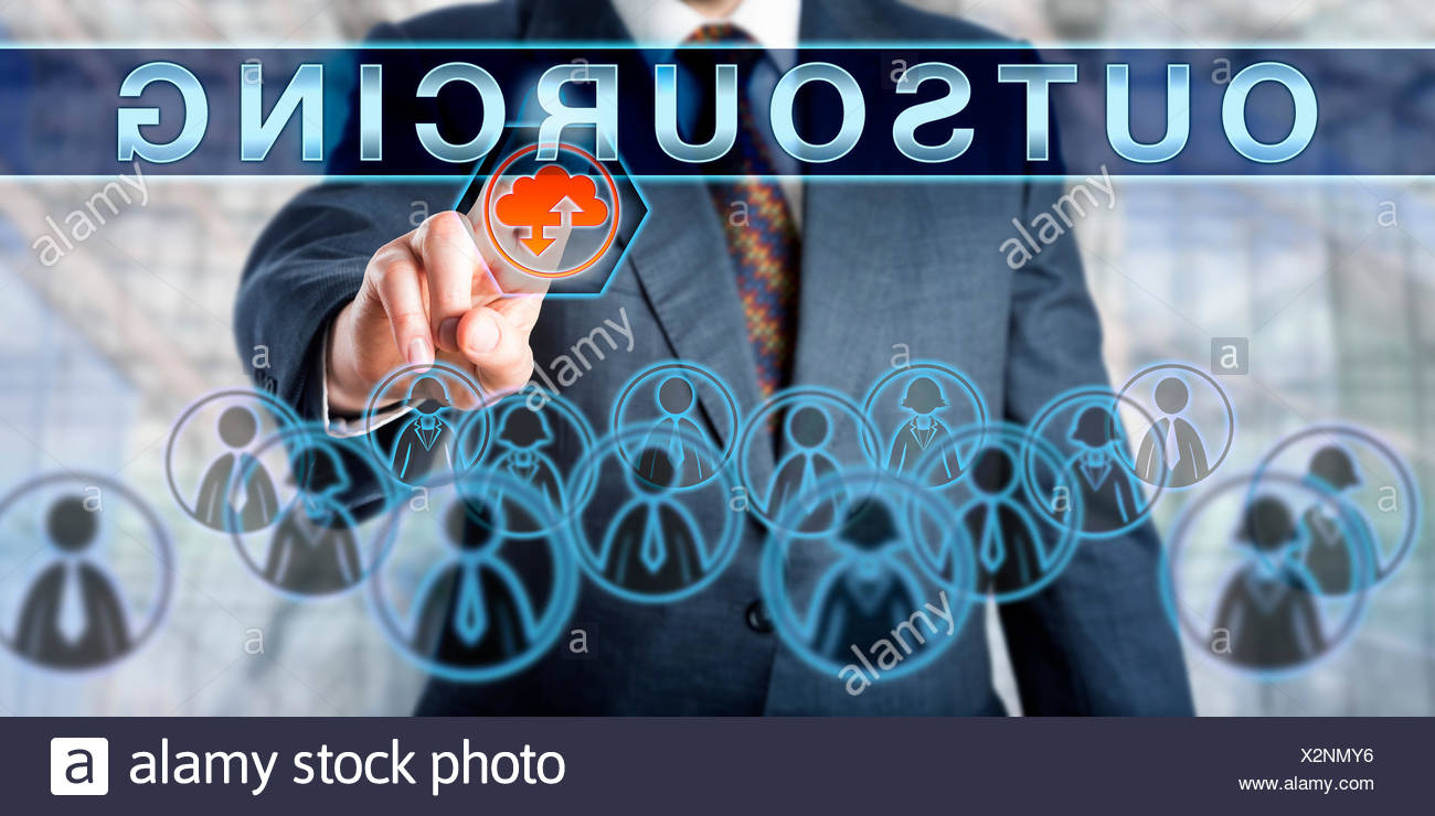 Business Manager Pushing OUTSOURCING - Stock Image