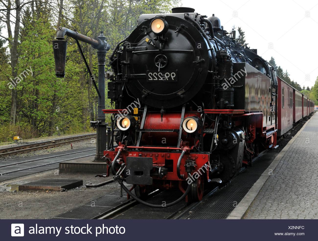 Steam train departs - Stock Image