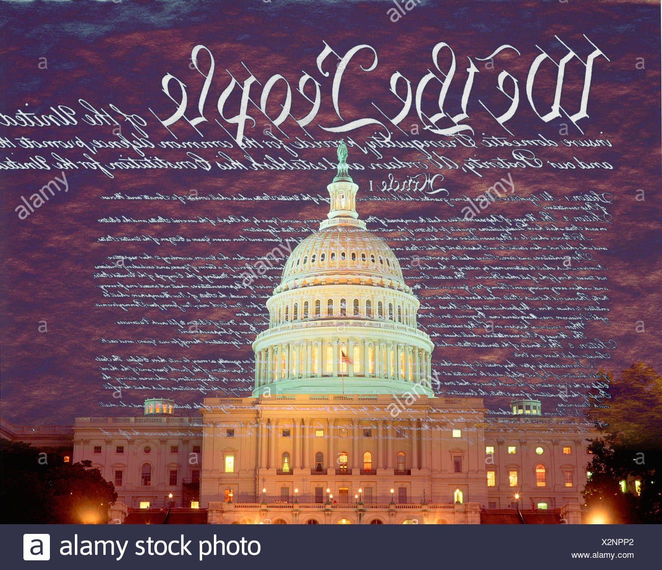 Composite image of the U.S. Capitol and the U.S. Constitution - Stock Image